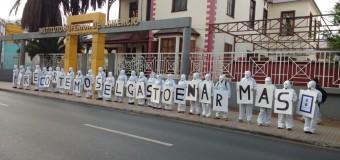 Serpaj Antofagasta realiza intervención urbana para recortar el gasto en armas