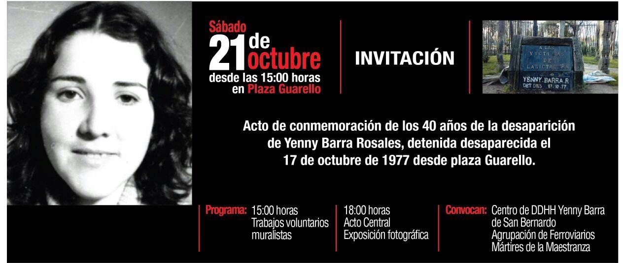 Homenaje a Jenny Barra: Detenida Desaparecida el año 1977