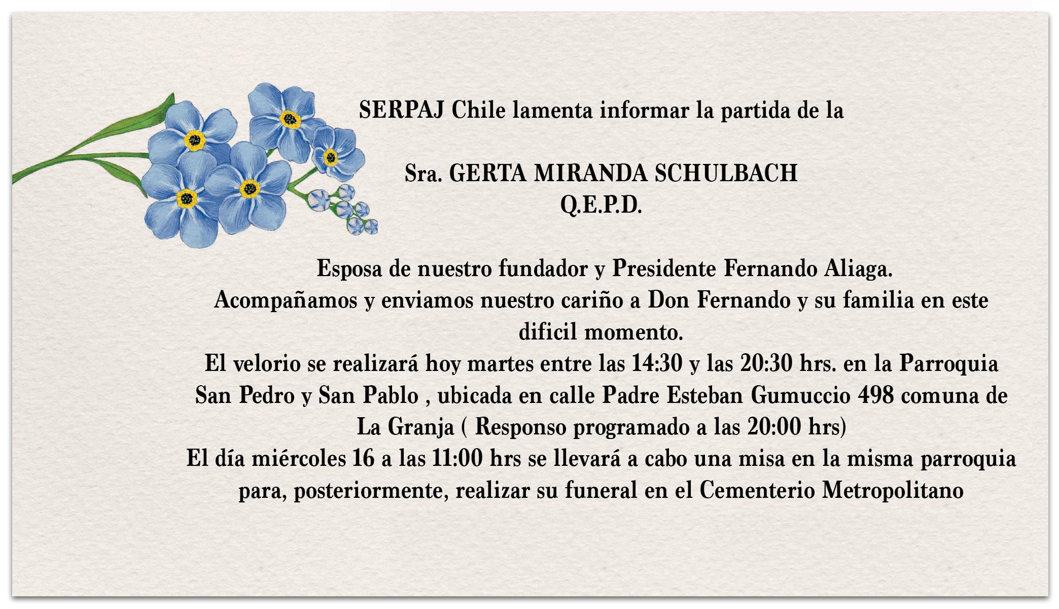 SERPAJ Chile lamenta sensible fallecimiento