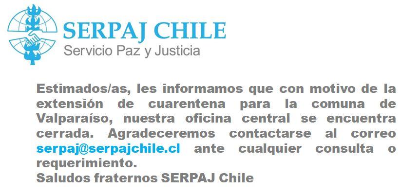 SERPAJ CHILE INFORMA FUNCIONAMIENTO OFICINA CENTRAL