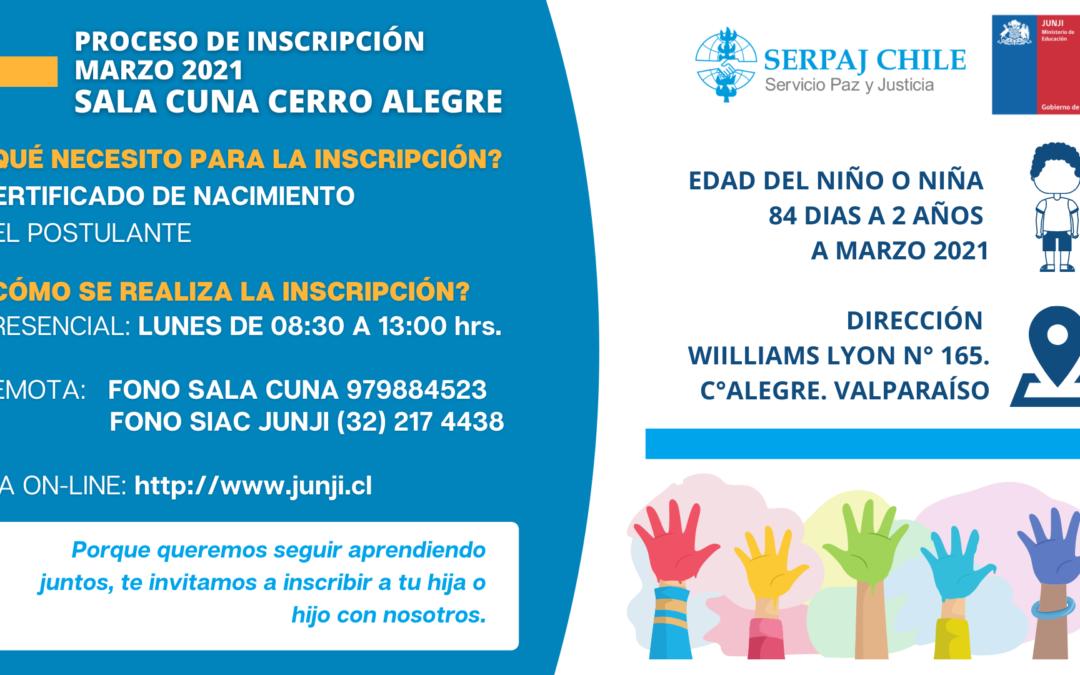 Proceso de inscripción 2021 Sala Cuna Cerro Alegre