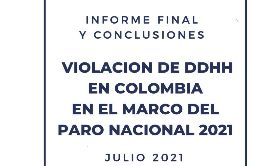 Informe final de la Misión de Solidaridad Internacional y DDHH en el hermano país de Colombia